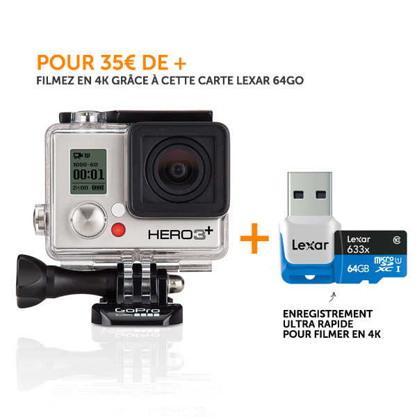 DIGIXO - Kit Hero 3+ Silver Edition + carte memoire Lexar 64Go (enregistrements 4K)